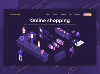 Flat Modern design of website template - Online shopping