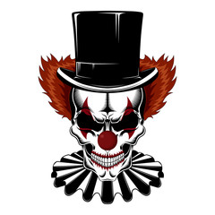 Skull clown in a hat-cylinder and jabot.