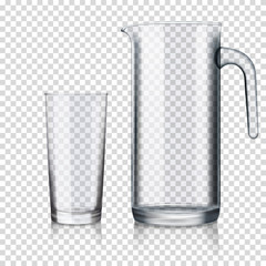 realistic transparent jug and glass empty isolated