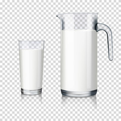 realistic transparent jug and glass with milk isolated