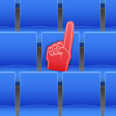 Background of blue plastic stadium seats and fan foam finger. The concept of the fan zone and the sale of tickets for the match. Sport arena and stadium. Vector illustration