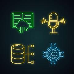 Machine learning neon light icons set