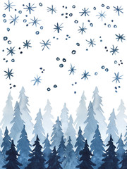 Watercolor Christmas and New Year landscape illustration of pine trees in snowfall