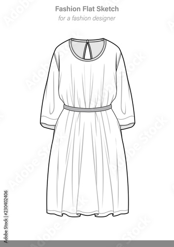 DRESS Fashion Vector Illustration Flat Sketches Template