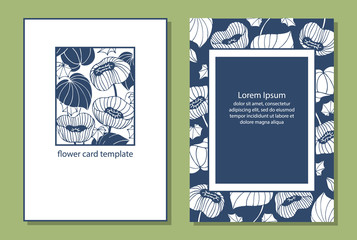Template cards, labels. Painted flowers, leaves. Simple design. Two colors: white, blue.