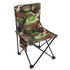 folding chair for fishing or for a picnic, camouflage fabric, on a white background, isolate