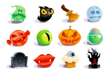 Halloween icons and symbols set