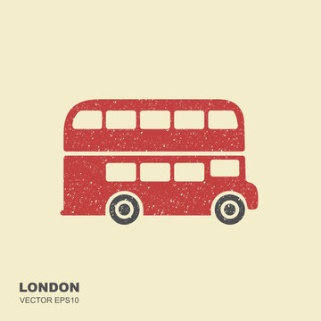 London double-decker flat red bus. Flat icon with scuffed effect