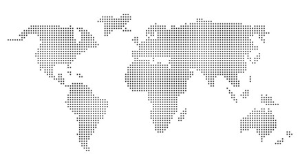 Grey world map pixel design. Vector world map in squares.