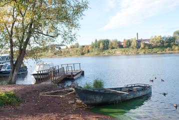 boats on the lake, ships, sunrise, sunset