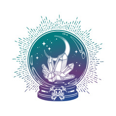 Hand drawn magic crystal ball with gems and crescent moon line art and dot work. Boho chic tattoo, poster, tapestry or altar veil print design vector illustration.
