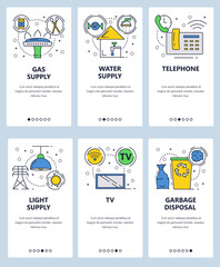 Vector web site linear art onboarding screens template. House utilities and services. Gas, water and electricity supply. Menu banners for website and mobile app development. Modern design flat