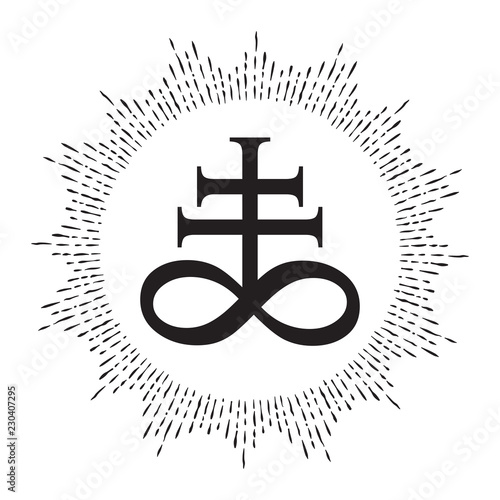 87d7e17c31447 Hand drawn Leviathan Cross alchemical symbol for sulphur, associated with the  fire and brimstone of Hell. Black and white isolated vector illustration.