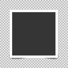 Vector blank photo frames with shadow effects isolated on background. Stock vector illustration