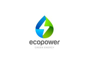 Wall Mural - Water drop Flash Thunderbolt Logo design green energy vector