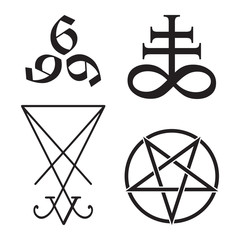 Set of occult symbols Leviathan Cross, pentagram, Lucifer sigil and 666 the number of the beast hand drawn black and white isolated vector illustration. Blackwork, flash tattoo or print design.
