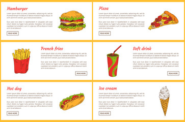 Hamburger and Pizza Slice Vector Illustration