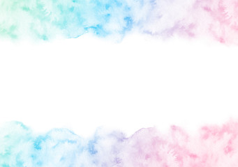 Hand painted colorful watercolor texture frame isolated on the white background. Border template for cards and wedding invitations of green, blue and pink gradient colors.