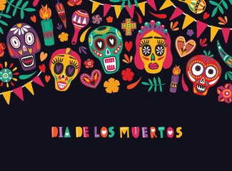 Colored Seamless Pattern With Traditional Dia De Los Muertos