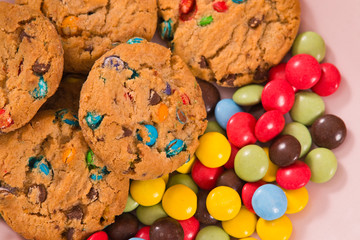 Candy coated cookies.