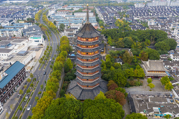 Suzhou China Temple Aerial Drone Photo Downtown District