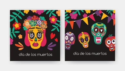 Bundle of square cards with Dia De Los Muertos inscription, Mexican calaveras or sugar skulls, Catrina's face on black background. Holiday vector illustration for Day of The Dead party invitation.