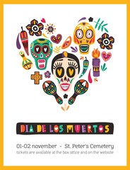 Holiday poster or flyer template decorated by Mexican calaveras or skulls, candles, maracas, flowers organized in heart. Celebratory vector illustration for Day of The Dead party advertisement.