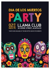 Flyer, poster or holiday party invitation template decorated by calaveras or skulls, Catrina's face and flowers on black background. Vector illustration for Day of The Dead Mexican festival promo.
