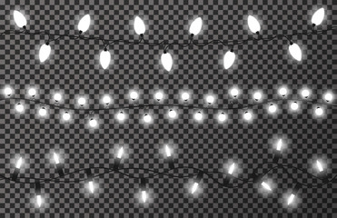 Christmas lights on transparent background. White, bright and glowing Christmas garland. New Year decoration, hanging lamps