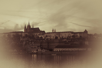 Prague castle sepia vignette