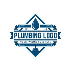 Plumbing logo template, easy to customize