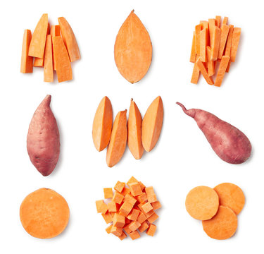 Set of fresh whole and sliced sweet potatoes