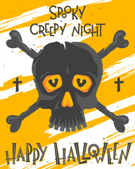 Foto op Canvas Halloween Scary halloween poster with lettering,skull and bones.Halloween design perfect for prints,flyers,banners invitations,greeting scrapbooking and more.Vector Halloween illustration.