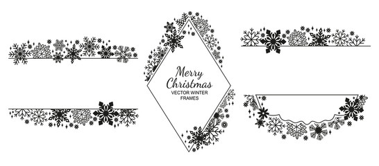 Black snowflake frame set, white background, Christmas design collection. Vector illustration, merry xmas flake framework