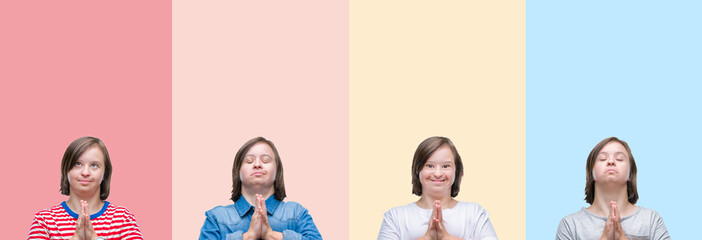 Collage of down syndrome woman over colorful stripes isolated background praying with hands together asking for forgiveness smiling confident.