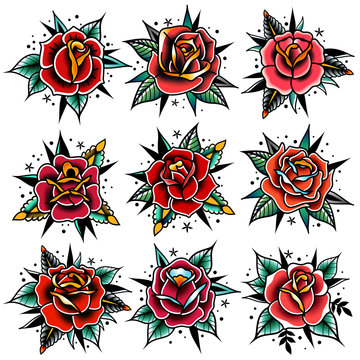 old school tattoo red roses with leaves set