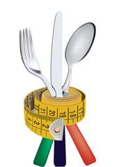 dieta  metro sartoriale e forchetta coltello cucchiaio