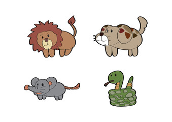 cartoon lion Dog rat Snake animal