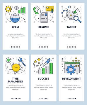 Vector web site linear art onboarding screens template. Time management, CV letter, business target and success. Menu banners for website and mobile app development. Modern design flat illustration.