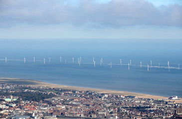 Scroby Sands offshore wind farm can be seen off of the coast at Great Yarmouth