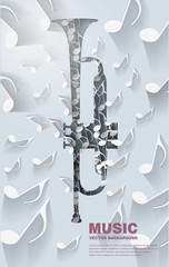 Music background with trumpet and notes - Illustration