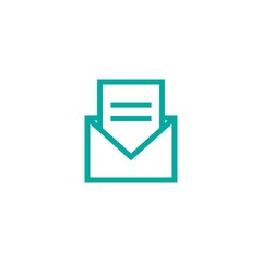 Opened letter, mail or message. Vector flat illustration. Blue line squared