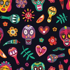 Festive seamless pattern with decorative skulls, Catrina's face, flowers, chili peppers, maracas on black background. Bright colored holiday vector illustration for Dia de los Muertos backdrop.