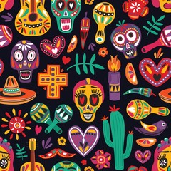 Colored seamless pattern with traditional Dia de los Muertos decorations on black background. Holiday backdrop. Festive flat cartoon vector illustration for wrapping paper, textile print, wallpaper.
