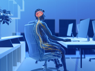 3d rendered illustration of a man working on a pc - visible brain and nerves