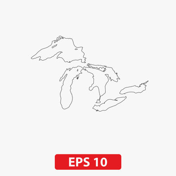 Map of Great Lakes. Vector