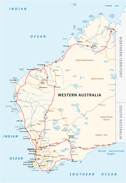 Road vector map of the Western Australian state