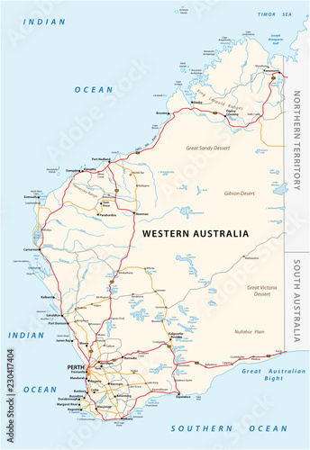 Map Of South Australia And Northern Territory.Road Vector Map Of The Western Australian State Stock Image And