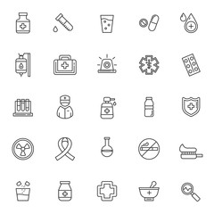 set of medical icons, with simple black line, editable stroke, use for healthcare or hospital web icon asset and pictogram presentation, herbal, medicine, medic, style, medical illustration.