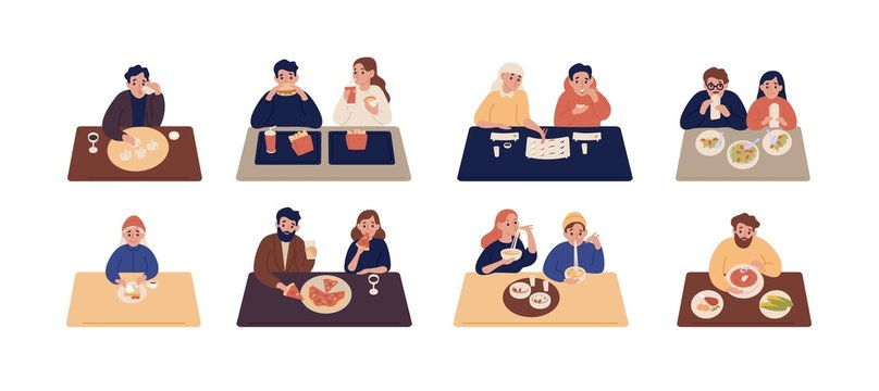 Collection of cute people sitting at tables and eating different delicious meals. Set of men and women trying tasty food at restaurant or cafe. Colorful vector illustration in flat cartoon style.